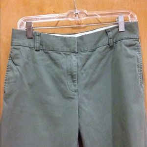 J.CREW Wide-Leg Chinos, Army Green, Size 6